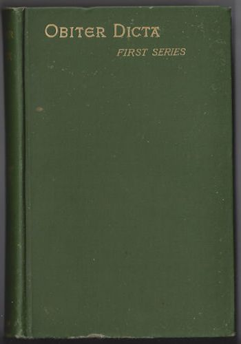 OBITER DICTA First Series by Augustine Birrell Hardcover 1888 Edition