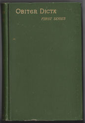 OBITER DICTA First Series Hardcover 1888 by Augustine Birrell