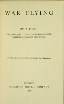 Title Page War Flying By a Pilot 1917 First Edition Letters Home From WWI