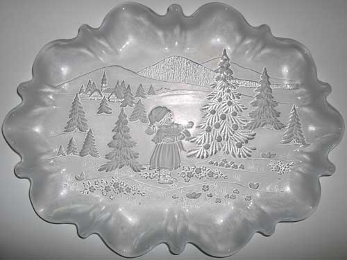 Christmas Snow Large Glass Platter